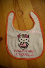 Baby bib with Hello Kitty Spring embroidery design