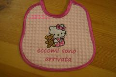 Baby bib with Hello Kitty with Toy embroidery design