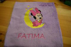 Bath towel with Minnie Mouse and moon embroidery design