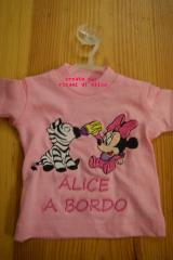 Baby shirt with Minnie Mouse and zebra embroidery design