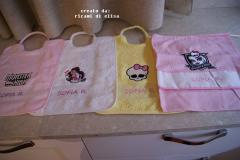 Baby napkins with Monster High embroidery design