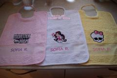 Baby bibs with Monster High embroidery design