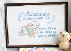Birtday fift with Sleeping baby with bunny toy embroidery design
