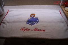 Newborn napkin with Sofia embroidery design