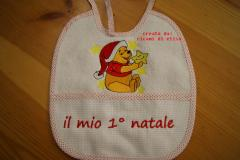 Baby bib with Winnie Pooh Before Christmas embroidery design