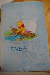 Towel with Winnie Pooh to the river embroidery design