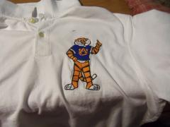Shirt with Aubie Auburn logo embroidery design
