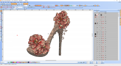 Vintage woman shoe with flower embroidery design