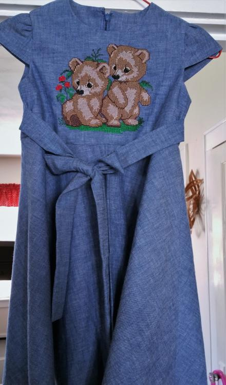 Embroidered dress with brothers bears free embroidery design