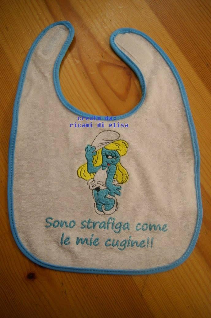Baby bib with Happy Smurf Girl embroidery design
