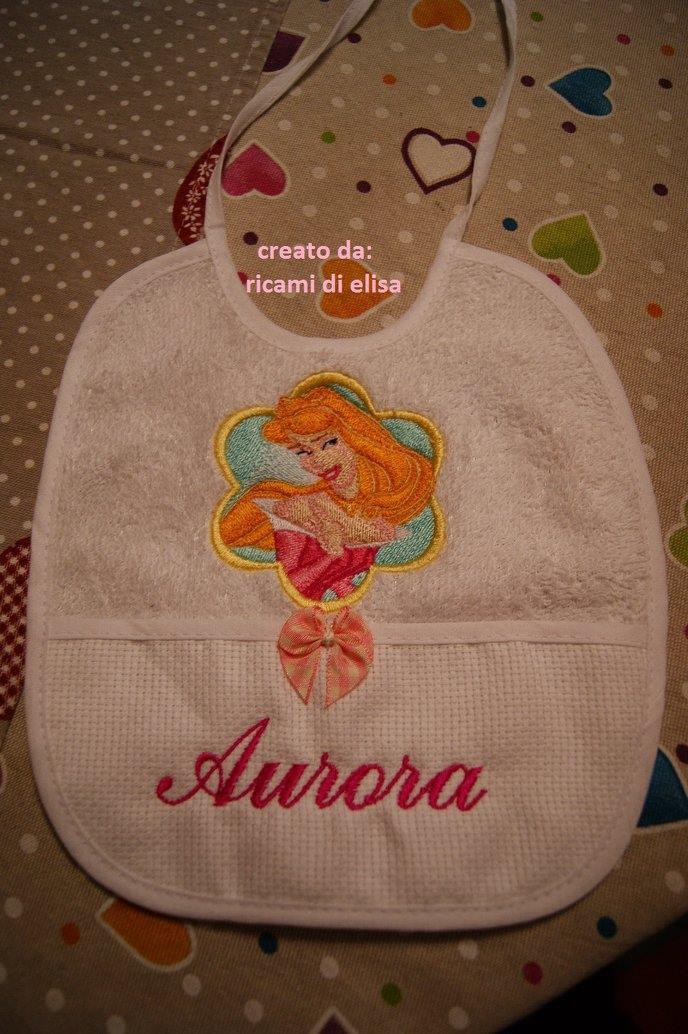 Baby bib with Aurora embroidery design