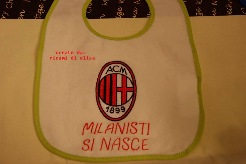 Embroidereed baby bib with AC Milan logo design