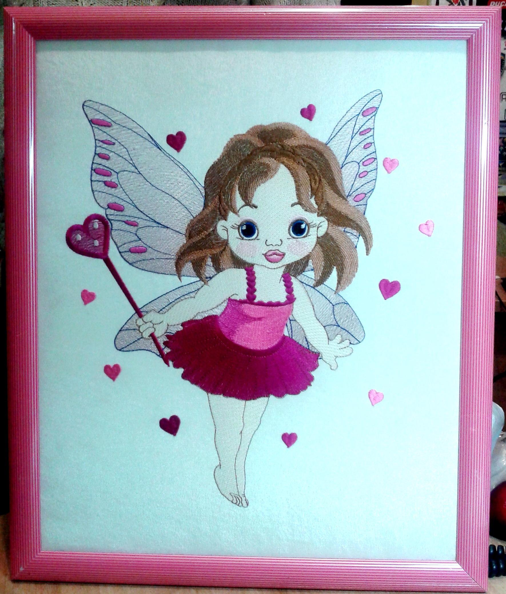 Framed Baby love fairy embroidery design