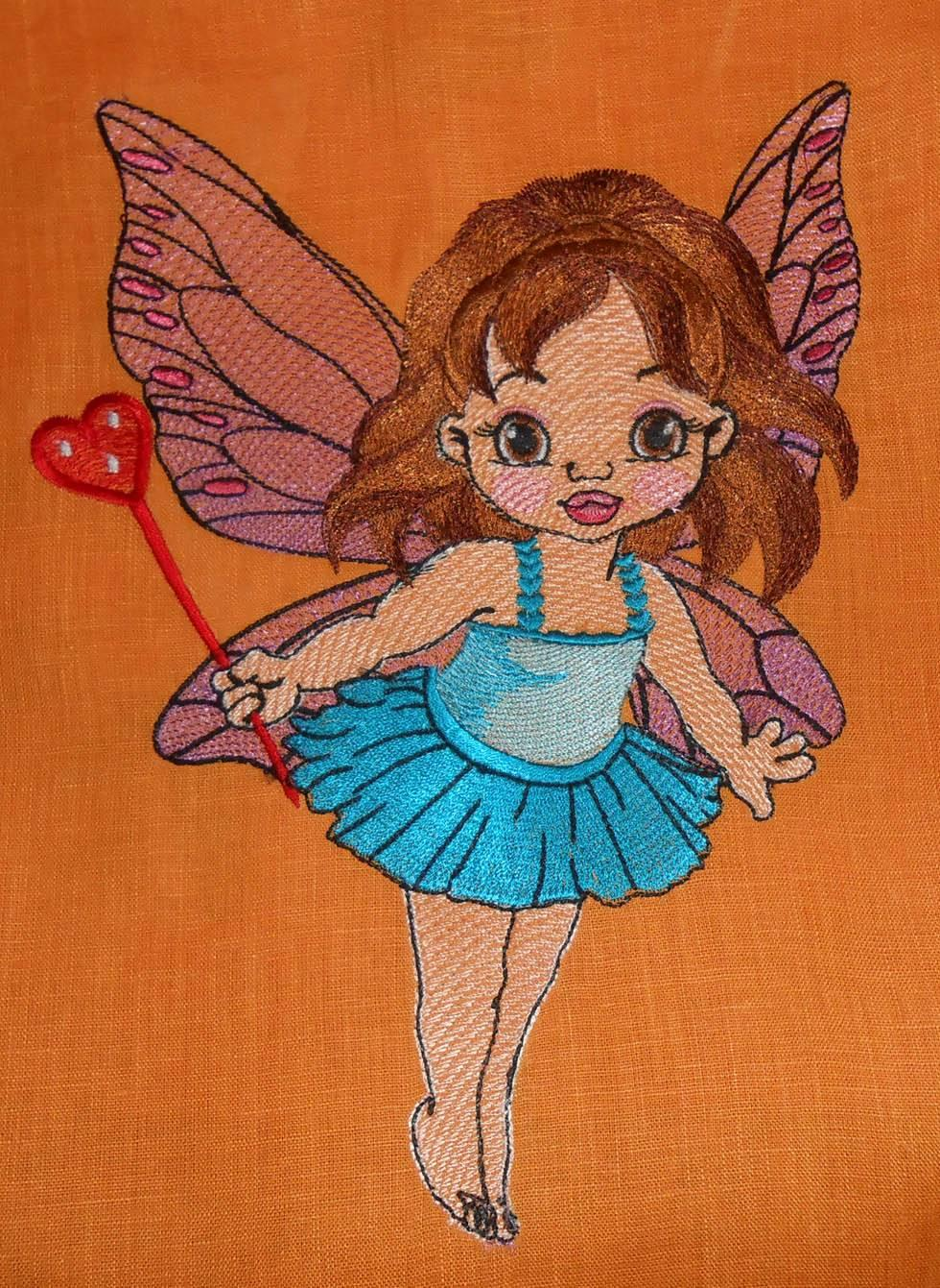 Baby love fairy embroidery design