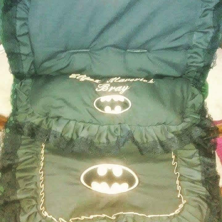 Baby sit with Batman logo embroidery design