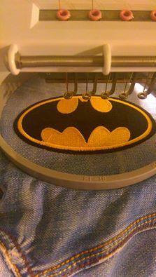 In hoop denim jacket with Batman logo machine embroidery design