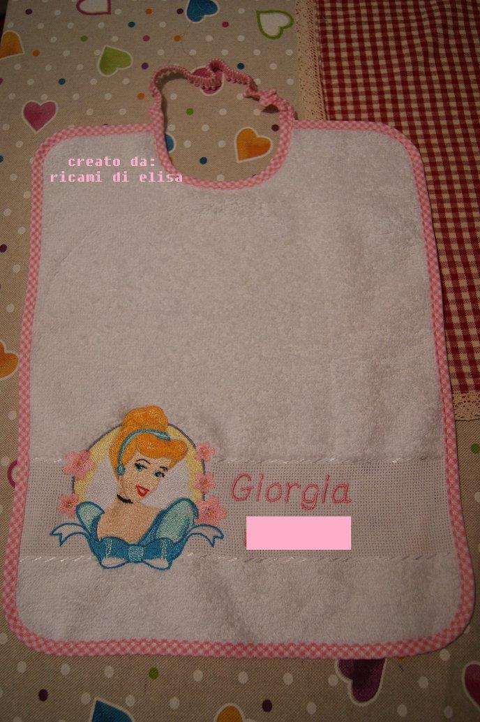 Baby bib with Cinderella embroidery design