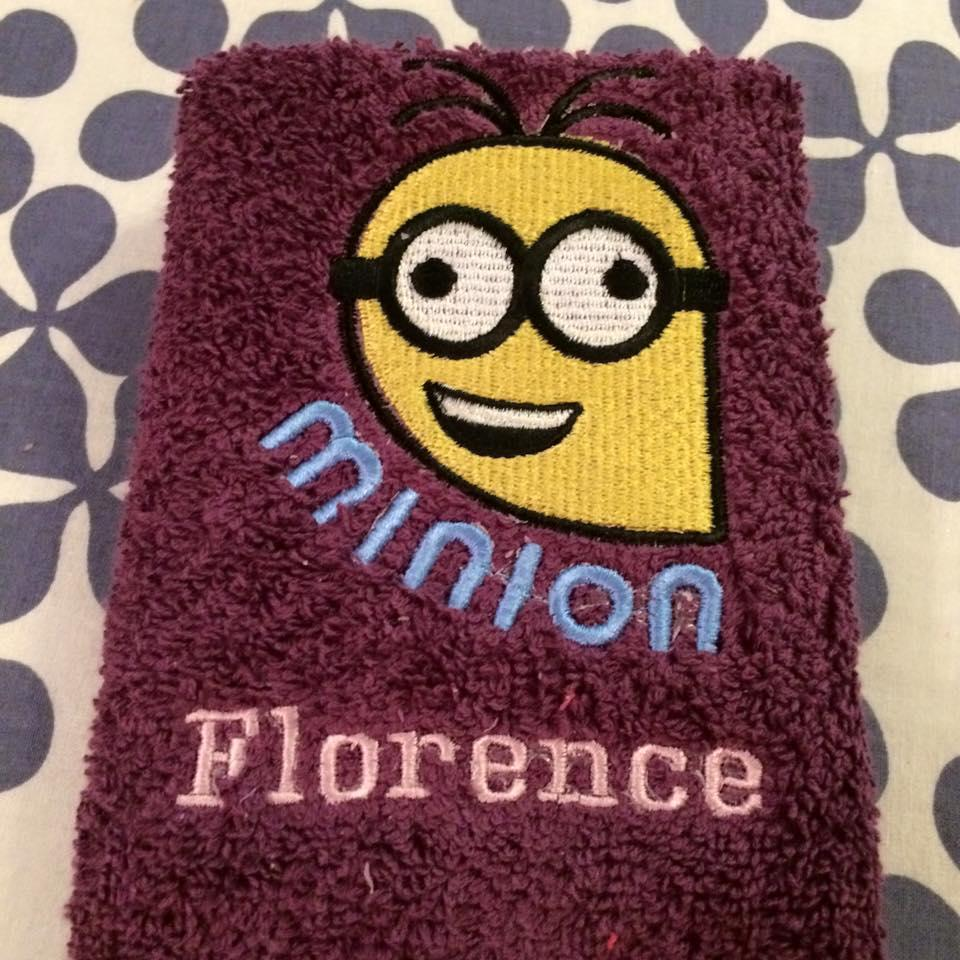 Towel with Crazy Minion embroidery design