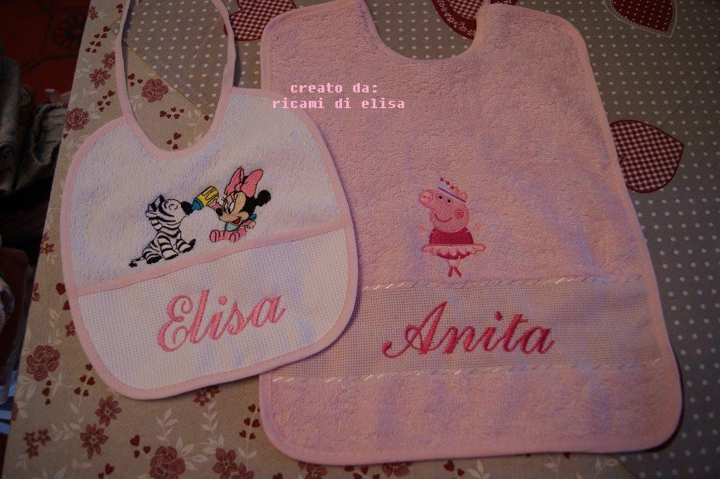 Baby set with Minnie Mouse and Peppa pig embroidery design