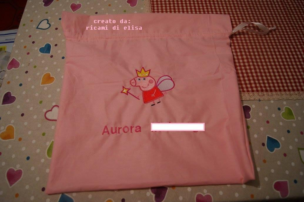 Bag with Peppa Pig Angel embroidery design