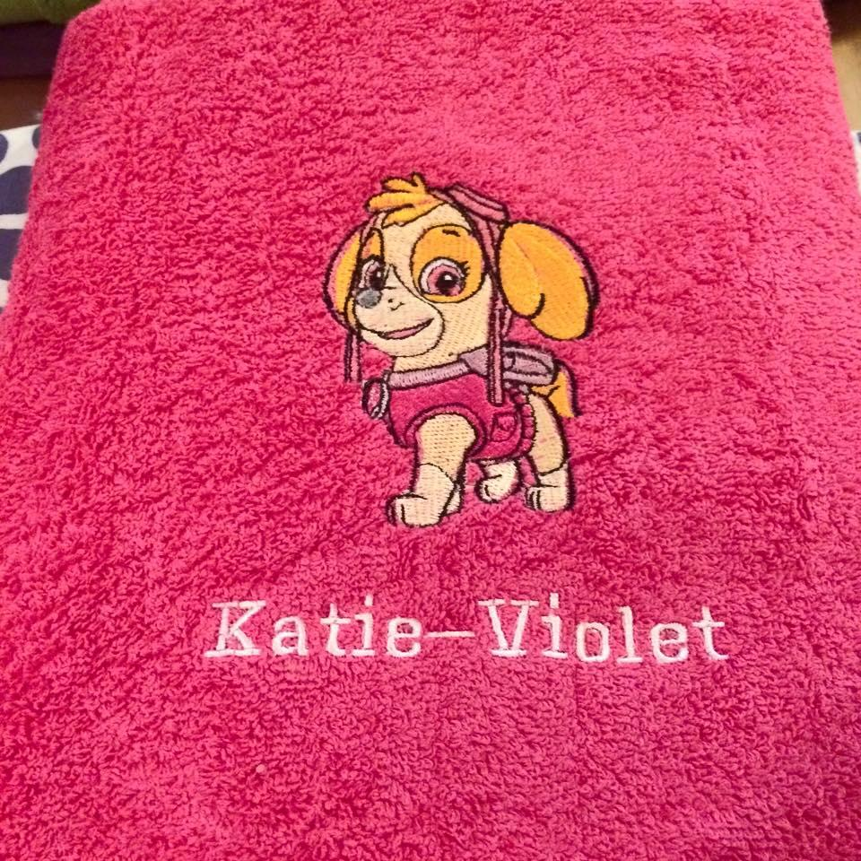 Towel with Skye embroidery design