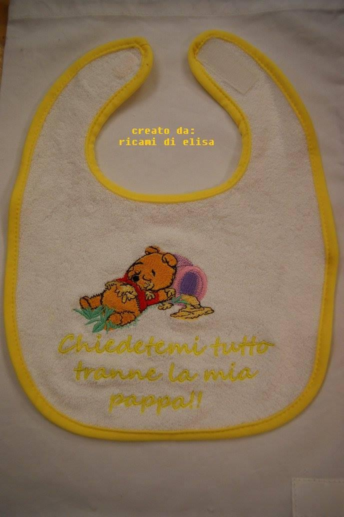 Bib with Sleep Baby Pooh embroidery design