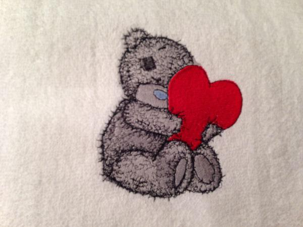 Teddy Bear with a pillow heart embroidered design