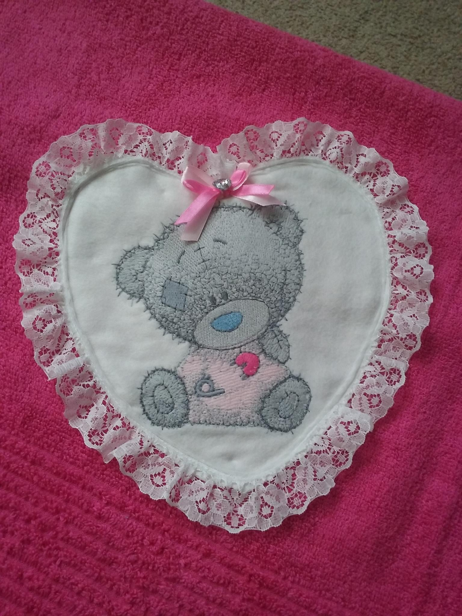 Cushion with heart applique  and Teddy bear I dressed myself embroidery design