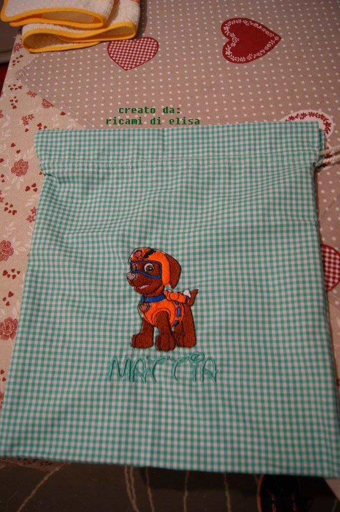 Bag with Zuma embroidery design