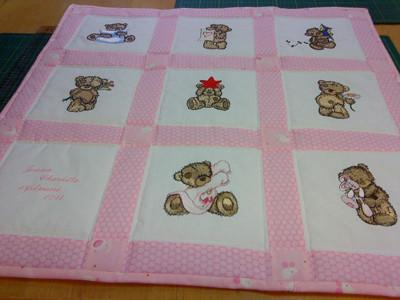 Big quilt with teddy bear embroidery design
