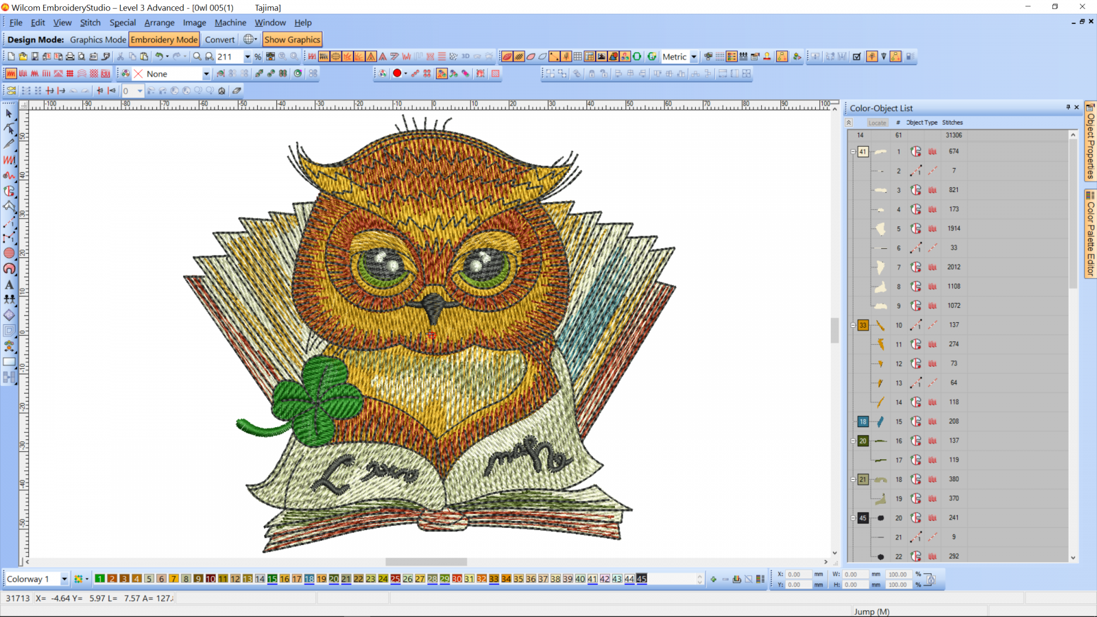 Clever owl reading book embroidery design preview