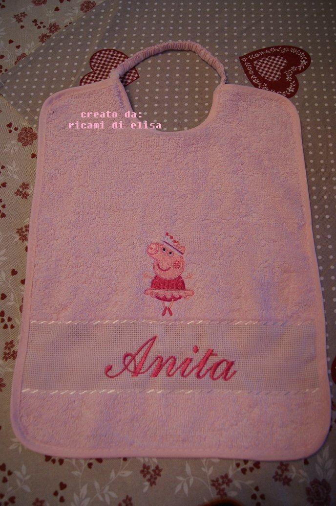 Baby bib with peppa pig ballerina embroidery design
