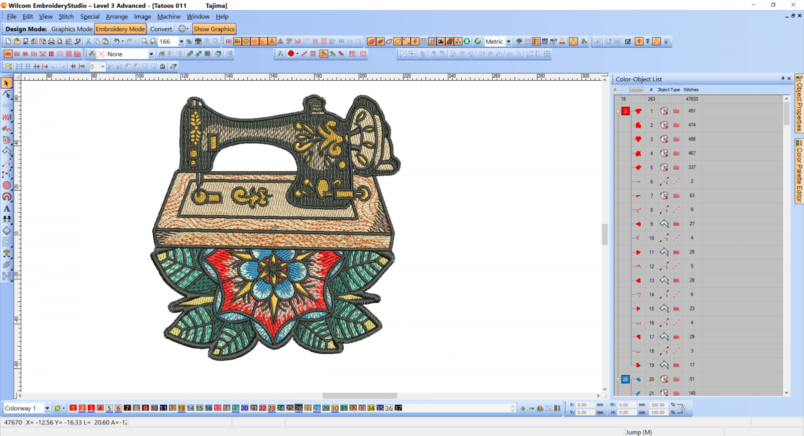 Sewing machine embroidery design preview