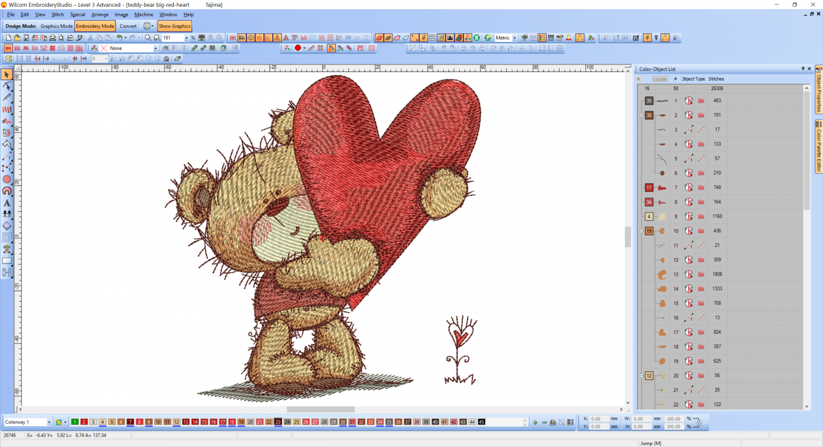 Teddy Bear with big heart embroidery design preview
