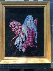 Framed Magic violet fairy embroidered design