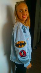Denim jacket with Batman embroidery designs collection