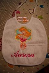 Baby bib with Aurora embroidery design