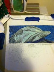 Dolphin photo stitch embroidery in hoop