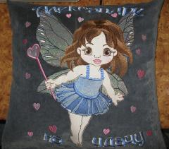 Cushion with Baby love fairy embroidery design
