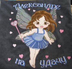 Embroidered cushion with Baby love fairy  design