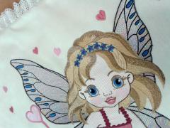 Napkin with Baby love fairy embroidery design