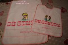 Baby bib and napkin with Anna and Elsa embroidery design
