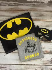 Set with Batman sketch and logo embroidery designs