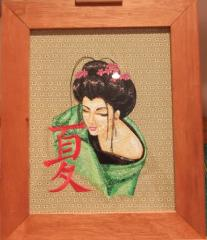 Framed Oriental Lady embroidery design