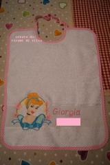 Baby bib with Cinderella embroidery design