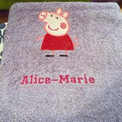 Peppa embroidery design at towel