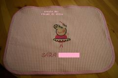 Baby napkin with Peppa pig ballerina embroidery design