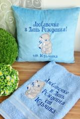 Cushion and towel with Teddy Bear with toy embroidery design