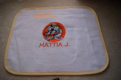 Baby napkin with Thomas the Tank Engine embroidery design