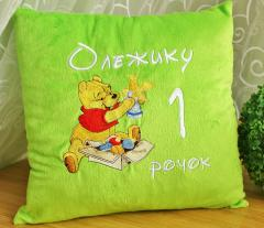 Cushion with Winnie the Pooh Ready for Christmas embroidery design